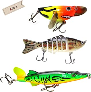 Fishing Lures,Freshwater Tackle Bait Floating Killer Bait Lifelike Fish Bait & 360°Rotating Tail Lure (3pcs),Bass Perch Trout Pike Musky Catfish