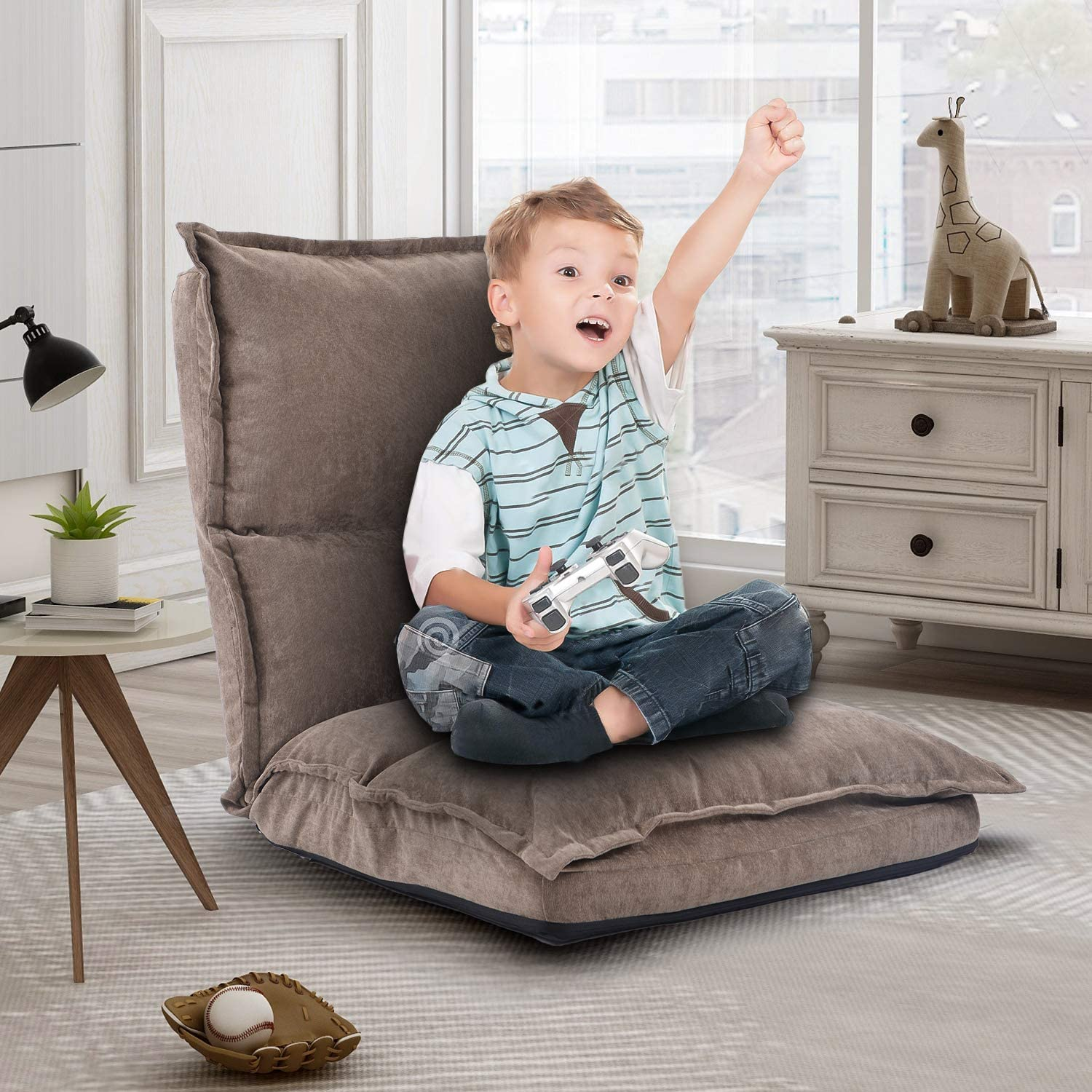 Amazon.com: Floor Gaming Chair for Kids, Fabric Upholstered