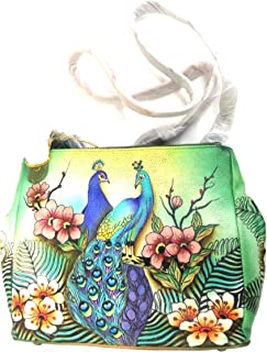 Anuschka Handpainted Triple Compartment Convertible Tote Western Wolf