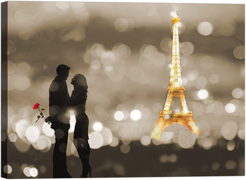 Rahmen Druck auf Leinwand Leinwand Leinwand mit Keilrahmen Dianne loumer A Date In Paris (BW) 100x75 CM B07BTHLR3X | Vorzugspreis  ae83fa