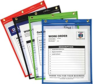 C-Line Heavy Duty Super Heavyweight Plus Stitched Shop Ticket Holder, Assorted Colors, 9 x 12 Inches, Box of 20 Shop Ticket Holders (50920)