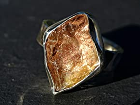 raw sunstone ring, Oregon sunstone ring silver, organic stone engagement ring, raw sunstone crystal ring, natural schiller sunstone gift