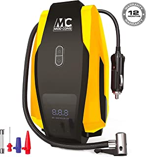 Mod Cons Tyre Inflator Car Bike Portable Air Compressor Pump   2020 Model 12V 150PSI Digital Auto Tire Inflator With Emergency Led Light, Long Cable For Car Bike Bicycle Motorcycle Basketball - Yellow