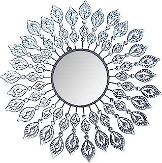 Lulu Decor, Decorative Leaf Metal Wall Mirror, Perfect for Housewarming Gift (Crystal Mirror1)