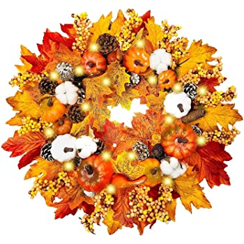"""TURNMEON 20"""" Prelit Fall Wreath for Front Door with 20 Warm Light Pumpkin Maples Leaf Pine Cone Berry Battery Operated Autumns Harvest Wreath Fall Thanksgivings Decoration Home Party Indoor Outdoor"""