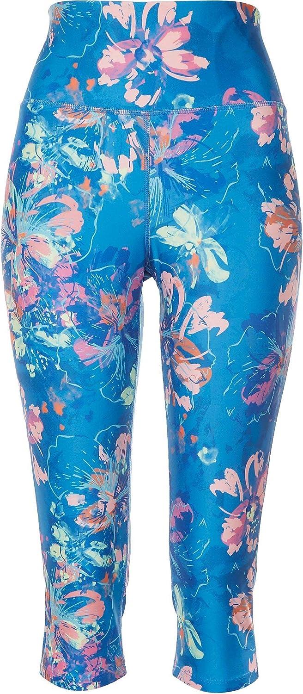 Reel Legends Womens Sea Floral Swim Leggings Large Blue