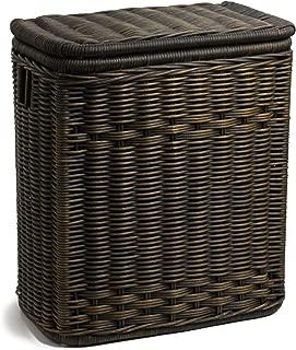 The Basket Lady Narrow Wicker Rectangular Laundry Hamper, 21 in L x 13 in W x 24 in H, Antique Walnut Brown