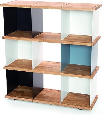 Konstantin Slawinski YU Set 3 Estantería Modular/Compartimentos de Acero/Suelo de Roble / 3X Blanco, 2X Negro, 1x Gris / 102,6x37x111cm
