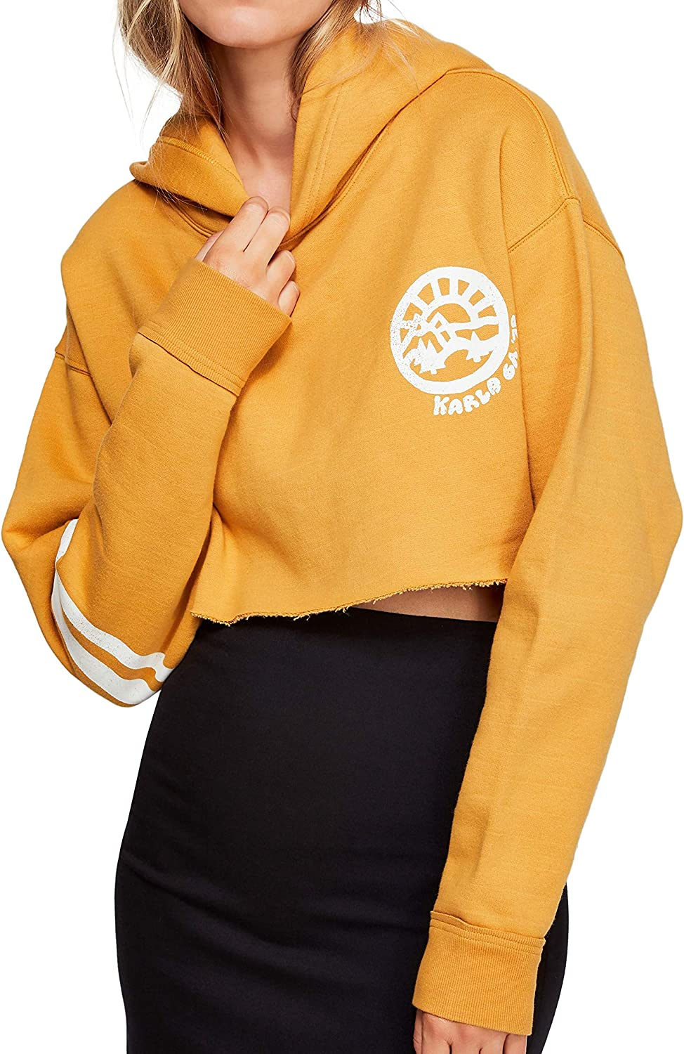 Free People Baldwin Cropped Graphic Hoodie, Small, Light Yellow