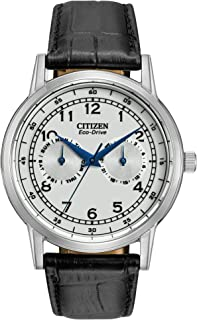 Citizen Men's Eco-Drive Stainless Steel Watch With Black Leather Strap