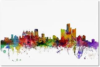 Detroit Michigan Skyline by Michael Tompsett, 22x32-Inch Canvas Wall Art