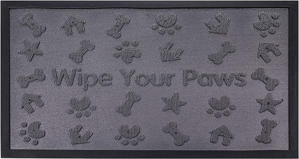 Yesland 29 5 X 18 Heavy Duty Pet Dog Doormat Durable Waterproof Easy Clean Floor Mat With Non Slip Backing For Indoor Outdoor Entryway Grey