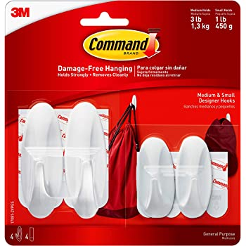 Command Designer Hooks, White, 2-Small, 2-Medium (17081-2VPES), Organize and decorate your dorm