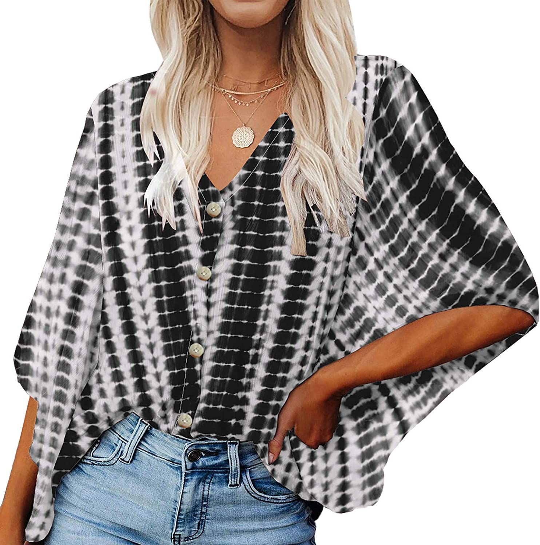 Women's V Neck Chiffon Blouses Button Up Shirts Loose 3/4 Bat Sleeve Casual Plain Tees Flowy Tops Loose Summer Tshirt