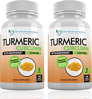 Turmeric Curcumin with Bioperine - 360 Veggie Caps - 2250mg 95% Curcuminoids Highest Max Potency with Black Pepper for Anti-Inflammatory Joint Pain Relief Pills - 100% Organic Supplement with Triphala