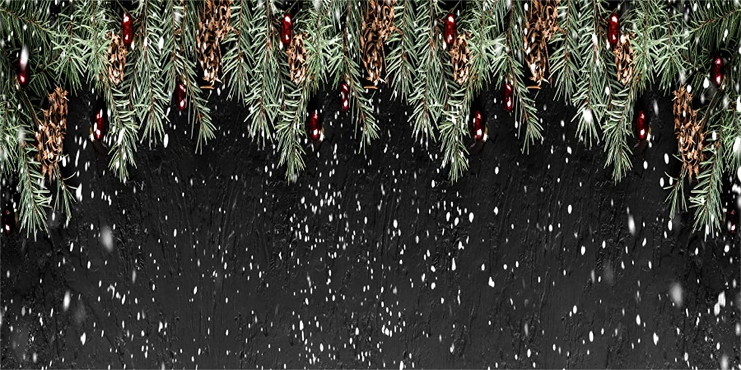 Leowefowa Merry Christmas Photography Background Vinyl 15x8ft Pine Twigs Falling Snow Backdrop Xmas New Year Party Banner Child Baby Adult Photo Shoot Indoor Decors Wallpaper Studio Props