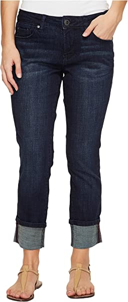 Petite Maddie Skinny Cuff in Crosshatch Denim in Night Breeze