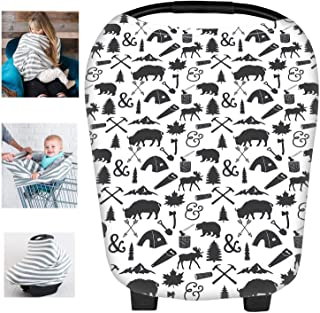 Black-white wide stripe Beststar 5 in 1 Car Seat Cover,Baby Car seat Canopy,Nursing Cover//Nursing Scarf for Breastfeeding,Shopping Cart Covers Grocery Trolley Cover,High Chair Cover#3206