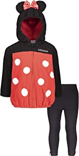 Minnie Mouse Girls Sherpa Fleece Zip-Up Hooded Costume Jacket and Pants Set