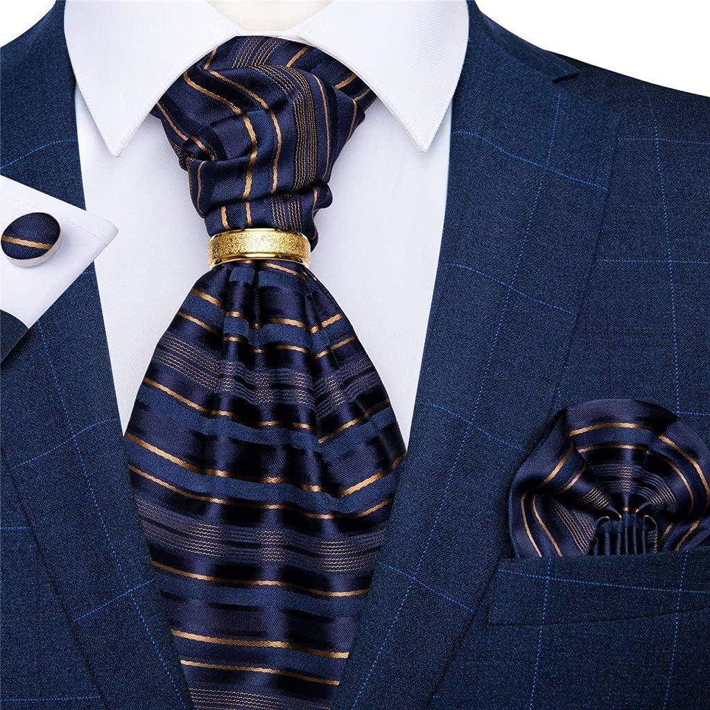 GANFANREN Men's Vintage Silk Tie Wedding Party Cravat Classic Bussines Gentleman Scarf Ring Set (Color : E, Size : One Size)