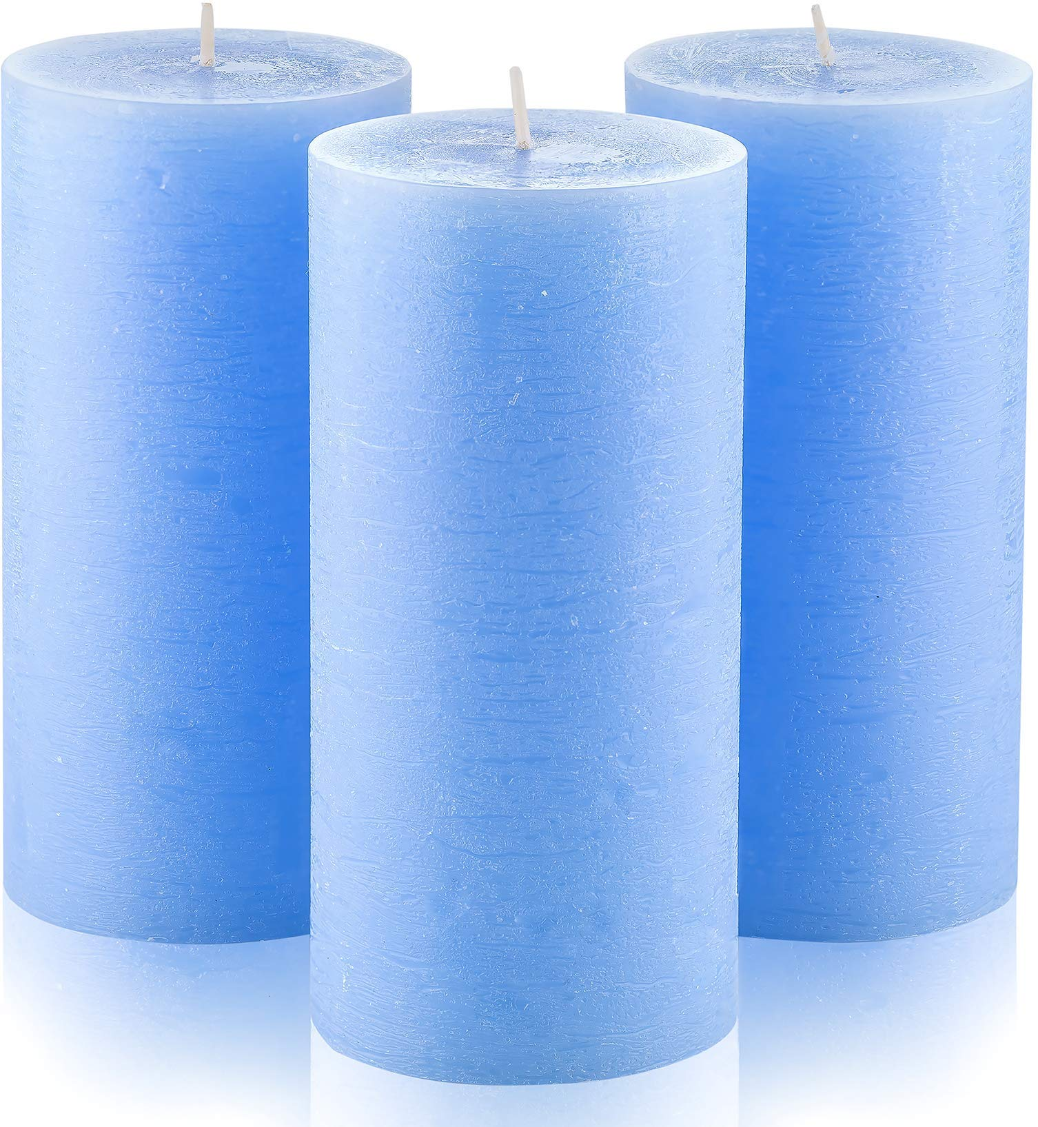 "Melt Candle Company Set of 3 Light Blue Pillar Candles 3"" x 6"" Unscented for Weddings Home Decoration Restaurant Church Spa Dripless Smokeless"