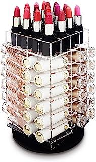 Ikee Design Premium Acrylic Rotating Cosmetic Lipsticks Tower Organizer for 64 Lipsticks, Spinning Lipgloss Storage Display Holder, 4 1/2
