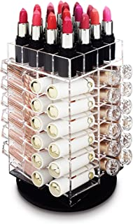 Ikee Design Acrylic Rotating 64 Lipstick Holder Organizer Spinning Lipstick Tower Lipgloss Holder with Removable Dividers