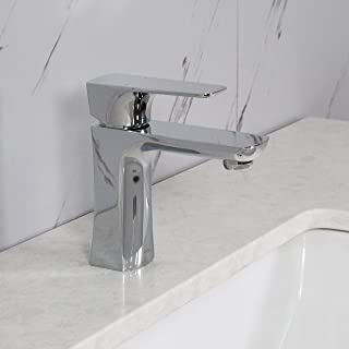 Spring Chrome Bathroom Sink Faucet Single Handle - Stainless Steel Faucet 1-Hole Easy Installation Pop-up Drain Assembly Included, JV16292C by Koozzo