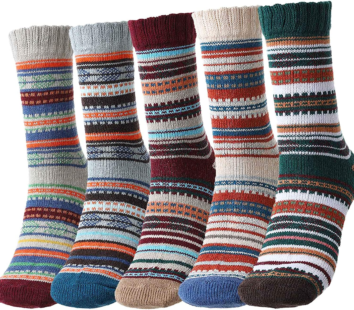 Campsis Nordic Socks Winter Thick Knit Crew Socks Multicolor Soft Cozy Polyester Socks Christmas Gifts for Men and Women (Pack of 5)