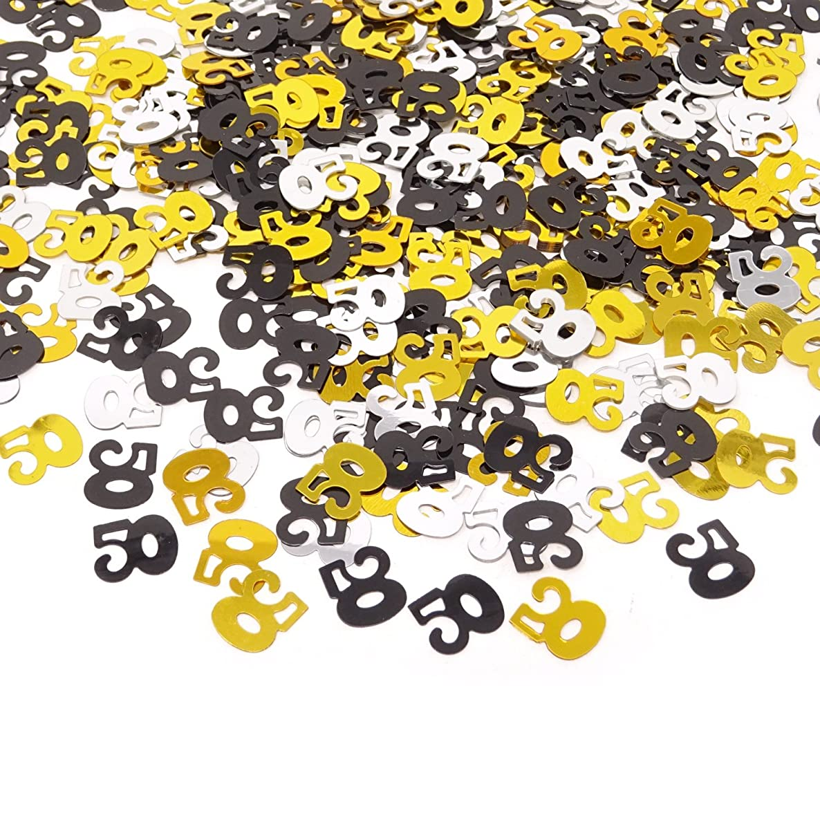 Honbay 2100 Pieces 1.6Oz Double Sided Sparkly Number 50 Confetti for 50th Birthday, 50th Class Reunion, 50th Wedding Anniversary,etc (Mixed)