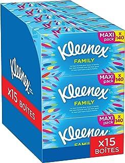 Kleenex FAMILY – Mouchoirs en papier - Lot de 15 Boîtes Maxi Format