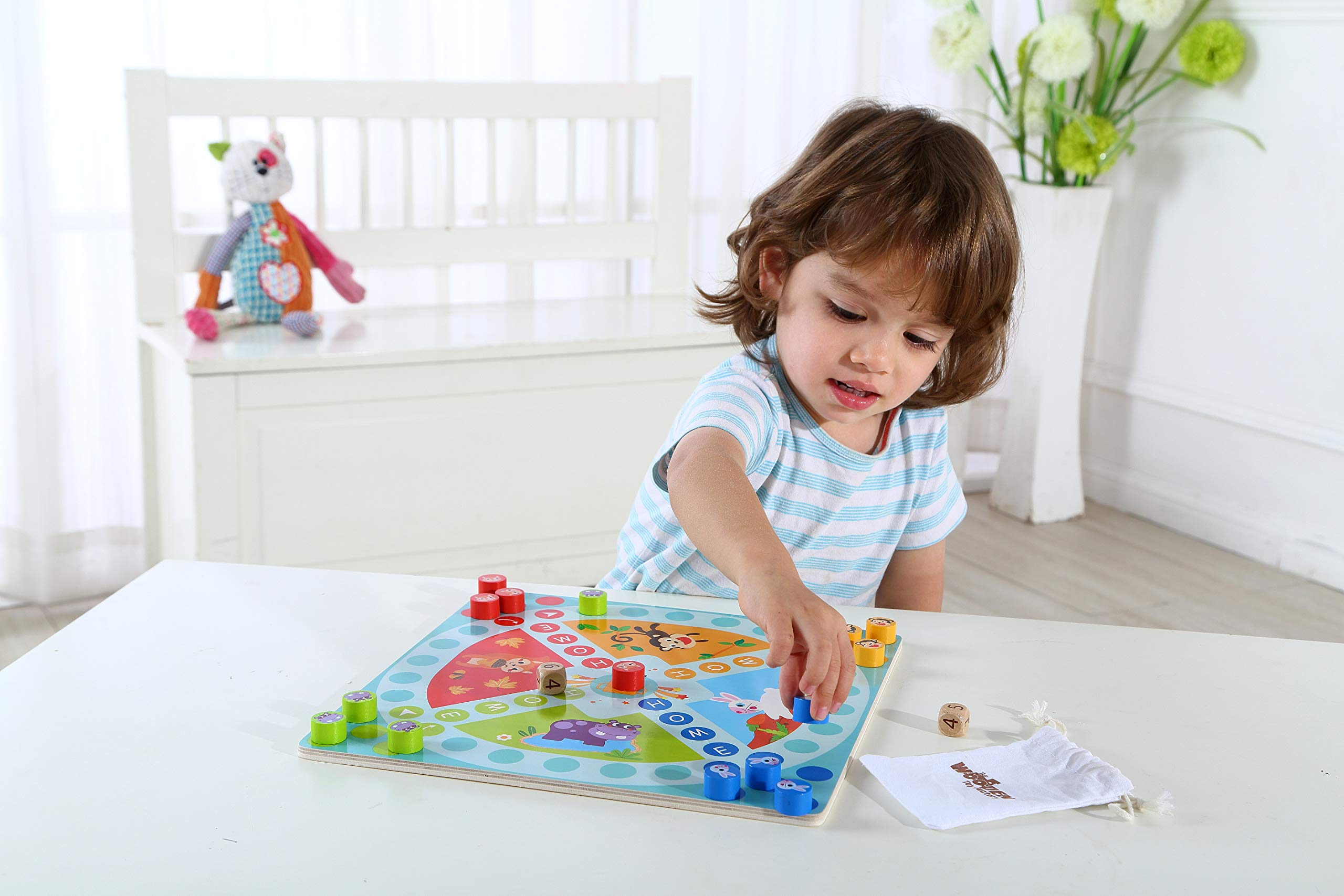 The Wooden Toy Factory - Juego de Mesa de Madera 2 en 1 - Serpientes y Escaleras / Carrera a Casa - Bono: Incluye Bolsa de Transporte para Fichas y Dados: Amazon.es: Juguetes y juegos