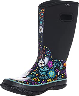 WTW Women's Floral Wide-Calf Neoprene Insulated Rubber Rain Snow Boots for Ladies, Mid-Calf Thick-Sole Warm Winnter Waterproof Women Barn Boots