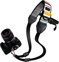 USA Gear DSLR Camera Strap with Adjustable Shoulder Sling Neoprene  Accessory Pocket and Quick Release Safety- Compatible with Canon  Fujifilm  Nikon  Olympus  Panasonic  Pentax  Sony  etc- Striped