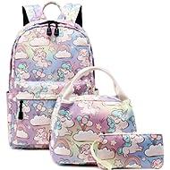 Abshoo Cute Lightweight School Boobag Kids Unicorn Backpacks for Girls Backpacks with Lunch Bag...