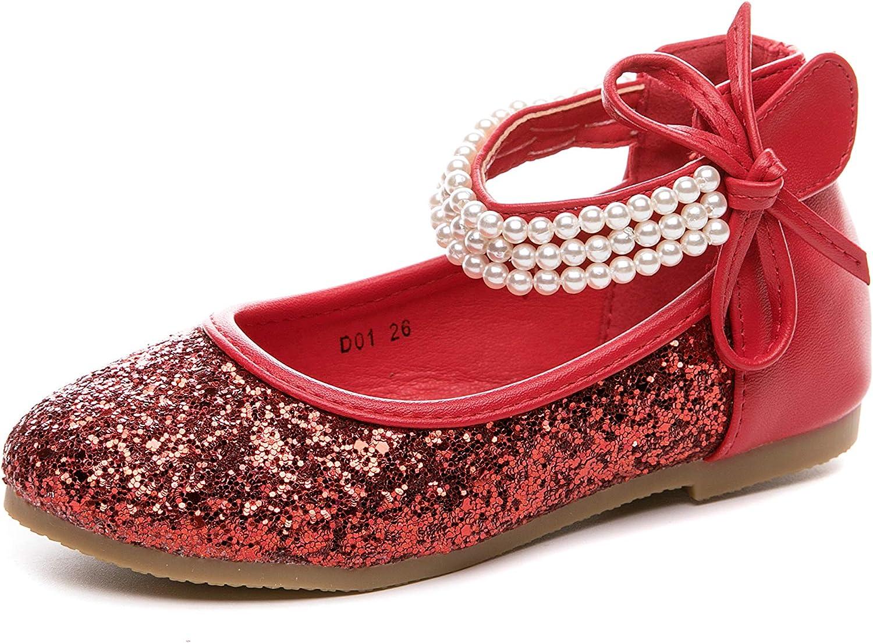 Je-Gou Girl's Ankle Strap Ballet Ballerina Flat Princess Dress Shoes School Uniform Mary Jane