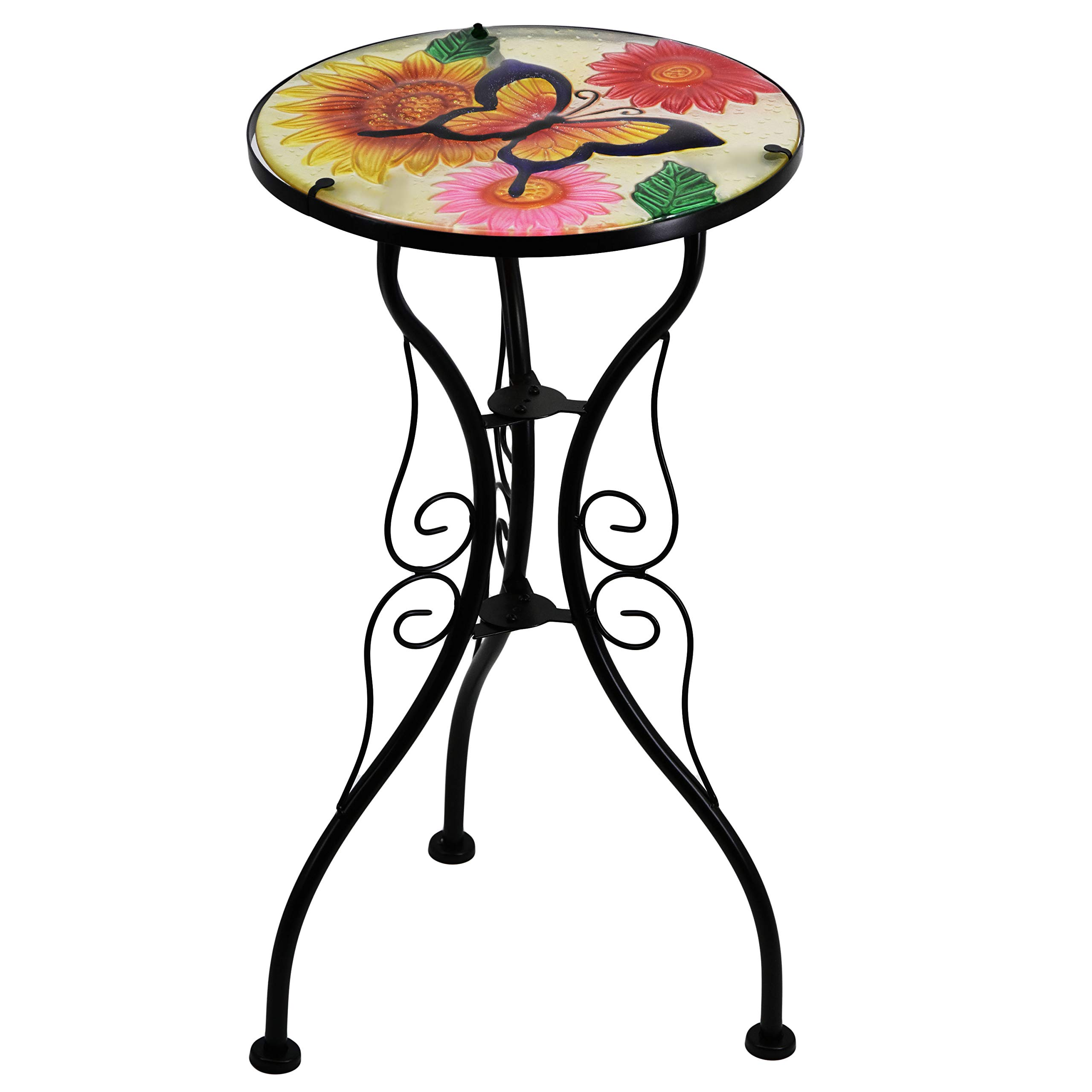 Flowers /& Butterfly Simple Home /& Living Mosaic Design Iron//Glass Garden Patio Flower Plant Table//Stand