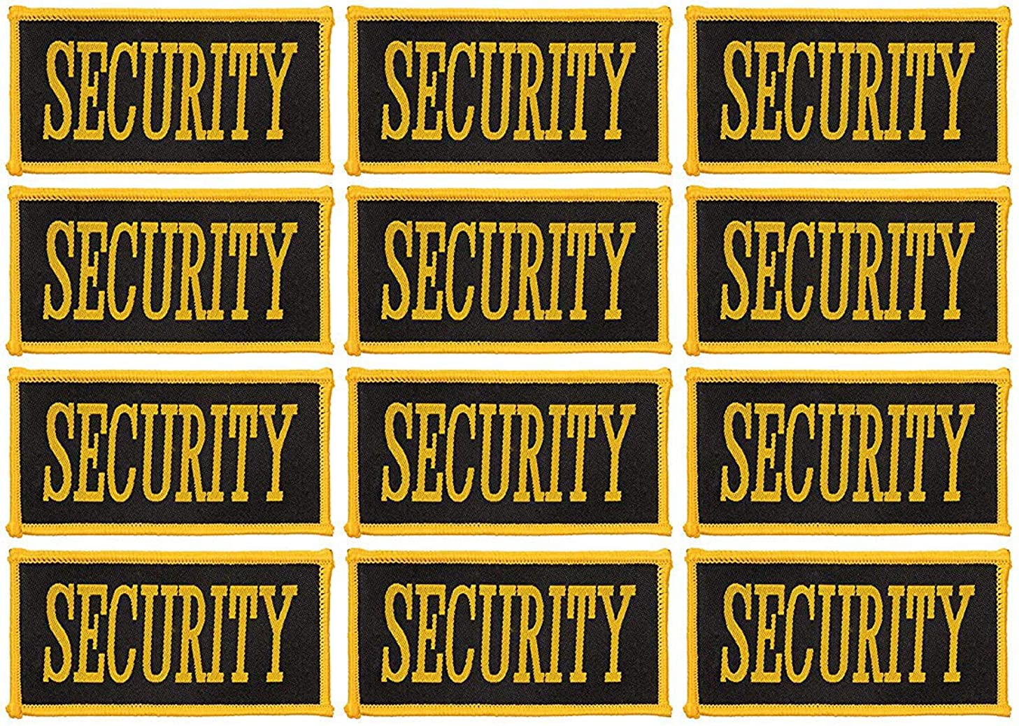 Security Patch - 12-Count Iron On Security Guard Patches, Security Officer Patch Applique with Yellow Lettering on Black Background, 3-5/8 x 1-7/8 Inches