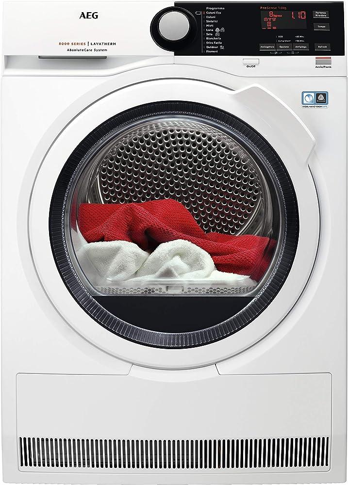 Aeg asciugatrice protex plus optisense, 8 kg, classe a+++ a condensazione con pompa di calore T8DBE851