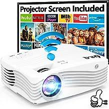 Proyector WiFi 1080P Nativo, 7500 Lúmenes Proyector [con 120″ Pantalla de Proyección], DR.Q Proyector Full HD 1080P Compat...
