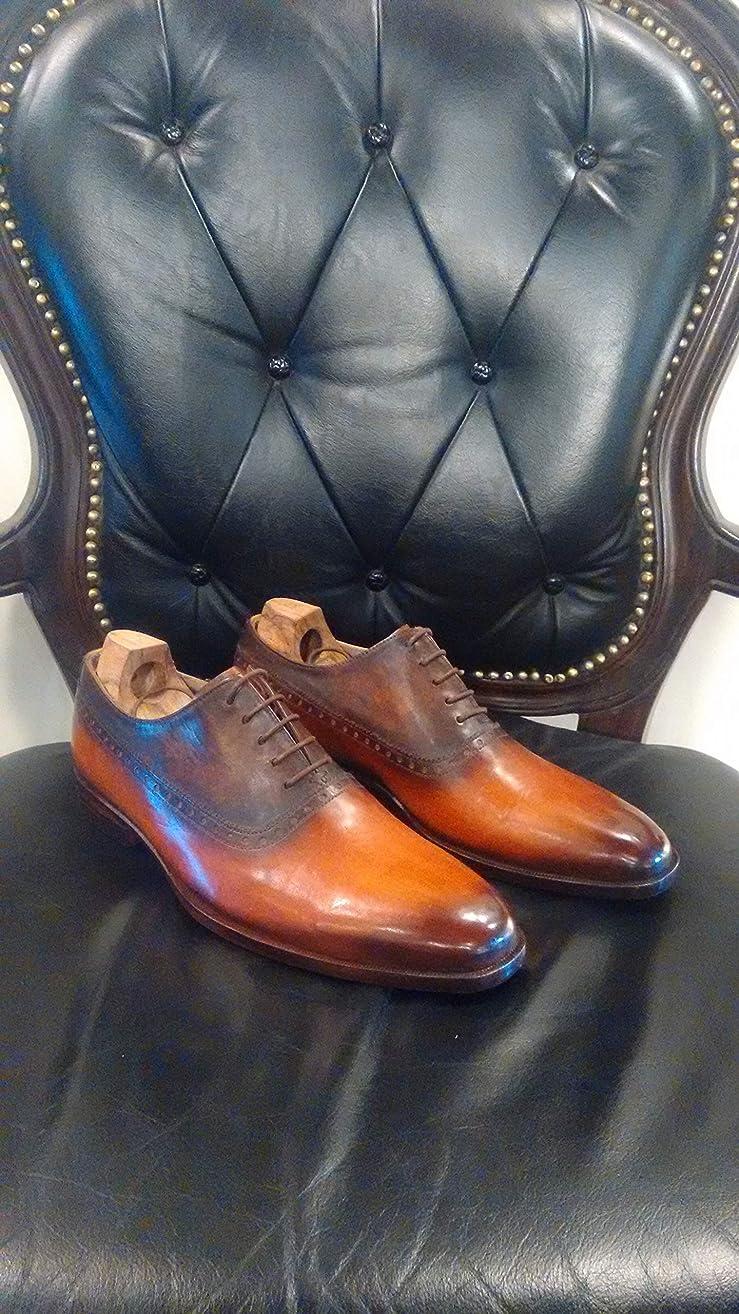 Handmade Tan Patina Oxfords For Men Custom Made Shoes for Men