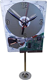 Hard Drive Pendulum Clock, Early 1980s. Pendulum a Laptop Disk Platter. From IBM pc of the 1980s. Historical Gadget.