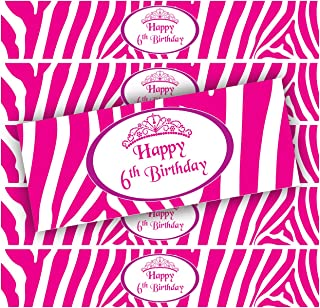 24 Pink Zebra Girl's Birthday WATERPROOF Water Bottle Labels (6th Birthday)