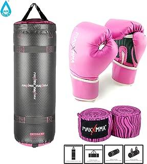 MaxxMMA Grey/Pink Training & Fitness Heavy Bag + 10 oz Pro Boxing Gloves + Pink Zebra Bamboo Hand Wrap