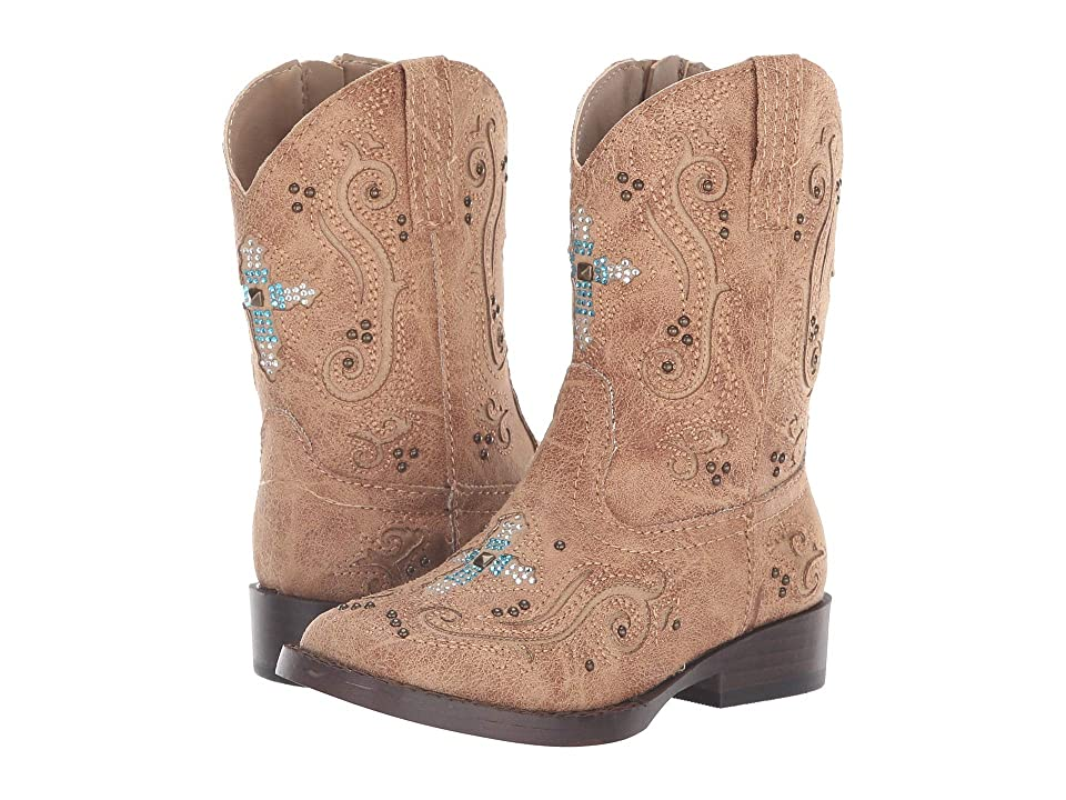 Roper Kids Faith (Toddler) (Tan Faux Leather Vamp & Shaft) Cowboy Boots