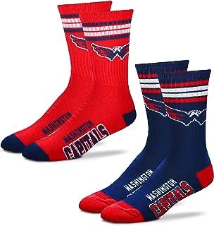 Men's NHL (2-Pack)-4 Stripe Deuce Crew Socks-Size Large and Medium