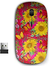 2.4G Ergonomic Portable USB Wireless Mouse for PC, Laptop, Computer, Notebook with Nano Receiver ( Floral Yellow Sunflowers )