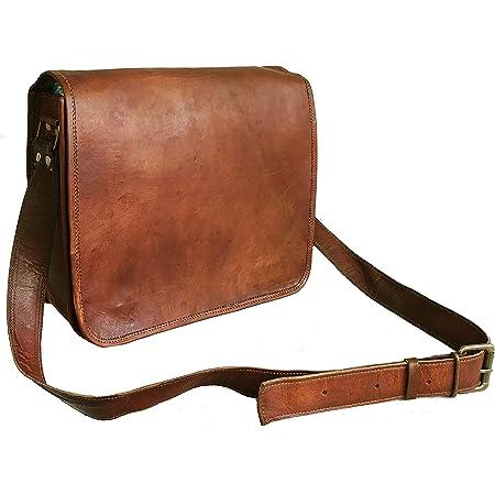 Leather Full Flap Messenger Bag Laptop Bag Satchel Bag Padded Messenger Bag School Bag Brown Handbag Goat Leather