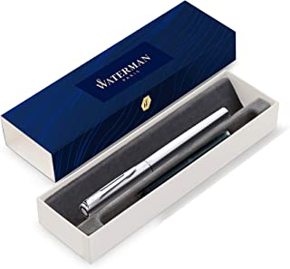 Waterman Graduate Chrome Fountain Pen, Fine Nib, Blue Ink