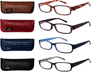 EYEGUARD Readers 4 Pack of Thin and Elegant Womens Reading Glasses with Beautiful Patterns for Ladies 1.50